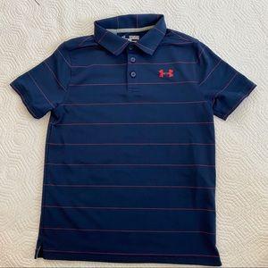 Under Armour golf polo red stripe navy medium